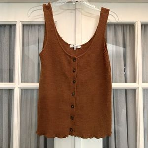 Madewell chestnut woven button up cropped tank